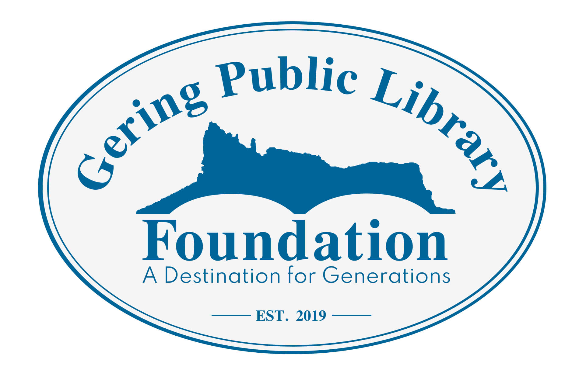 """Gering Public Library Foundation Logo. Blue and White with name and """"a destination for generations"""" slogan with Established in 2019 stamp. Bluffs/mountains in back ground all oval shaped"""